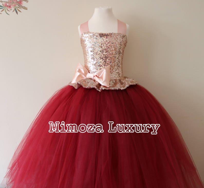 225182c5c47 Rose Gold   Burgundy Flower Girl Dress rose gold bridesmaid
