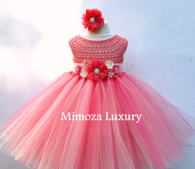 08505fd54f71 Coral Peach Flower girl dress, coral tutu dress, bridesmaid dress ...