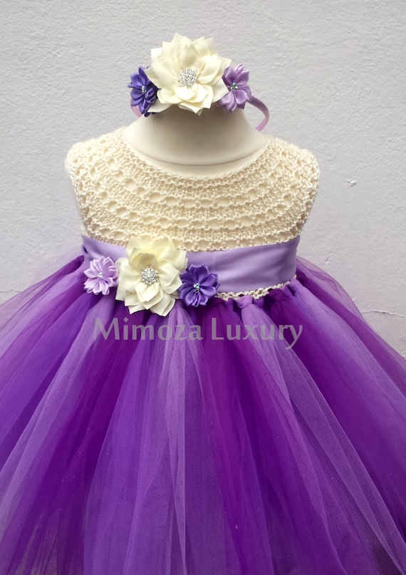 Purple Lavender Flower girl dress, tutu dress bridesmaid dress, princess dress, crochet top tulle dress, knit top tutu dress ivory lilac