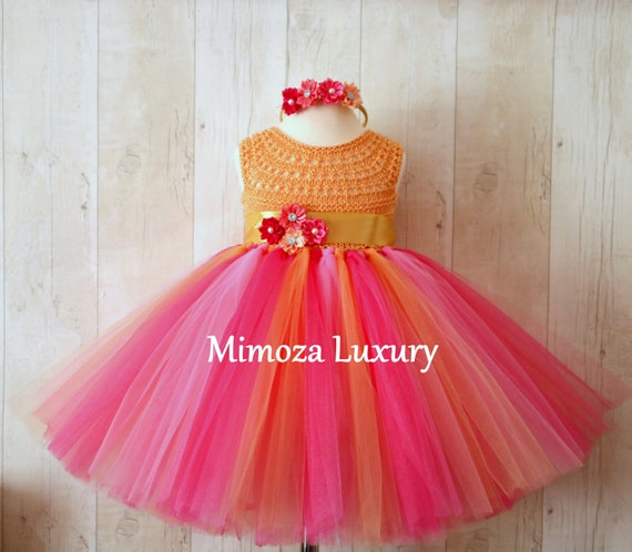 Hawaii Flowergirl dress, tutu dress, Tropical bridesmaid dress, princess dress, silk crochet top tulle dress, hand knit silk top tutu dress