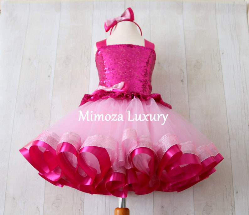 Luxury Pink Birthday Outfit Fuchsia Girls