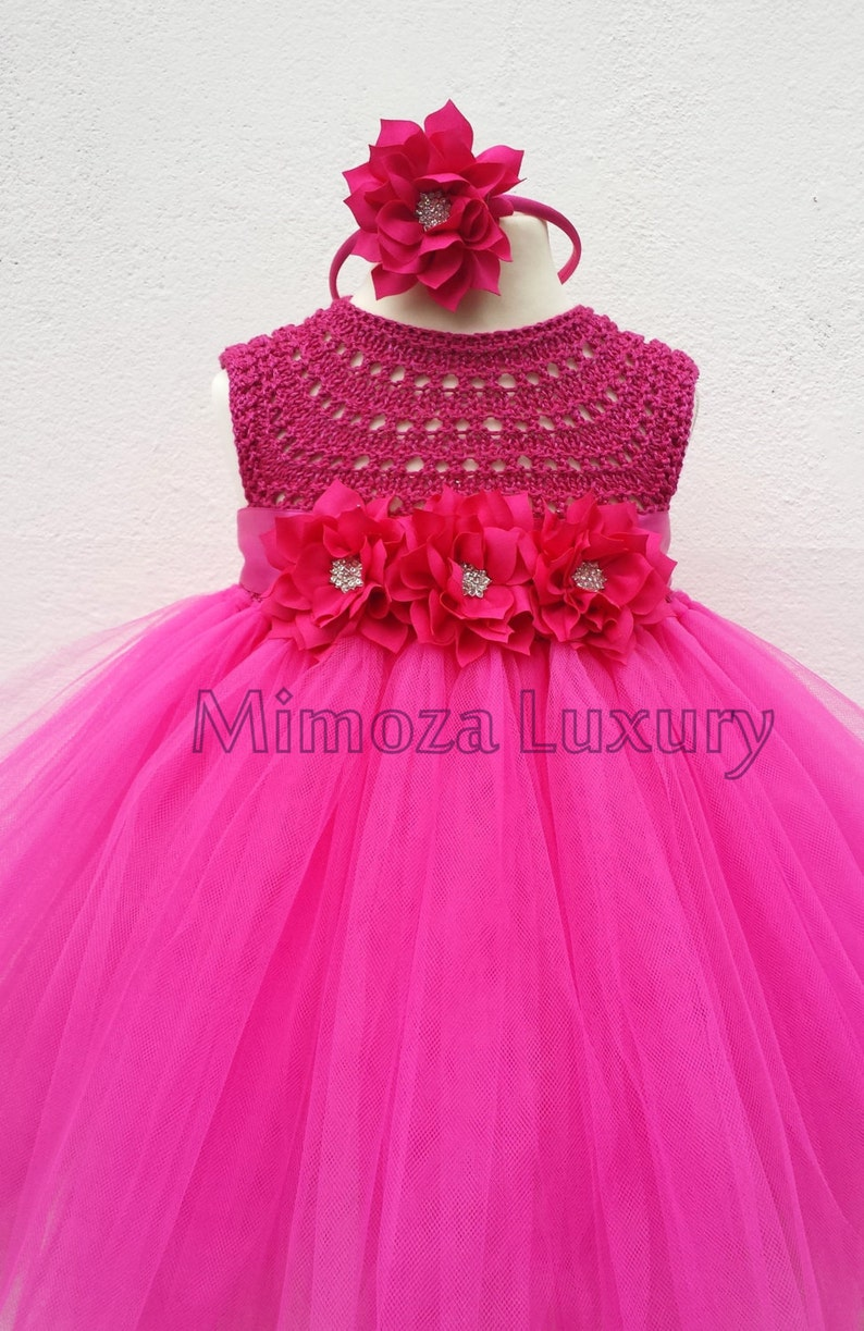 716873f350 Magenta Flower girl dress fuchsia tutu dress magenta