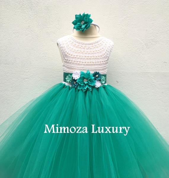 Flower girl dress, tutu dress, bridesmaid dress, princess dress, crochet top tulle dress, hand knit top tutu dress, teal sea green tutu