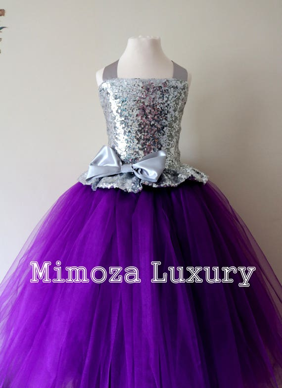 Purple & Silver Sequin Flower Girl Dress, Purple bridesmaid dress, flower girl gown, bespoke girls dress, tulle princess dress, Purple dress