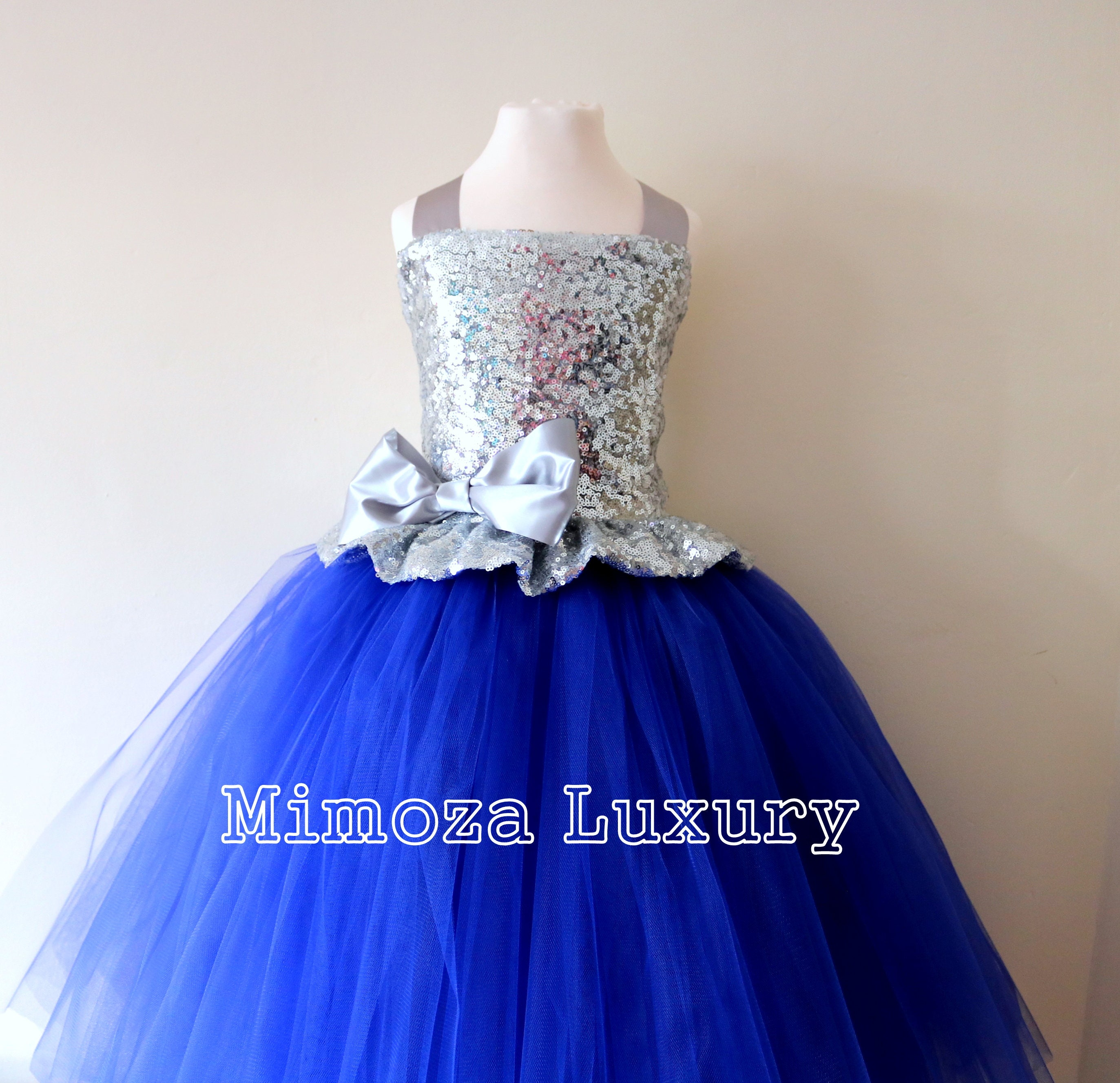 2978fca5c Silver & Royal Blue Flower Girl Dress, silver sequin bridesmaid dress ...