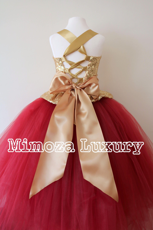 Gold Burgundy Flower Girl Dress Gold Bridesmaid Dress Couture