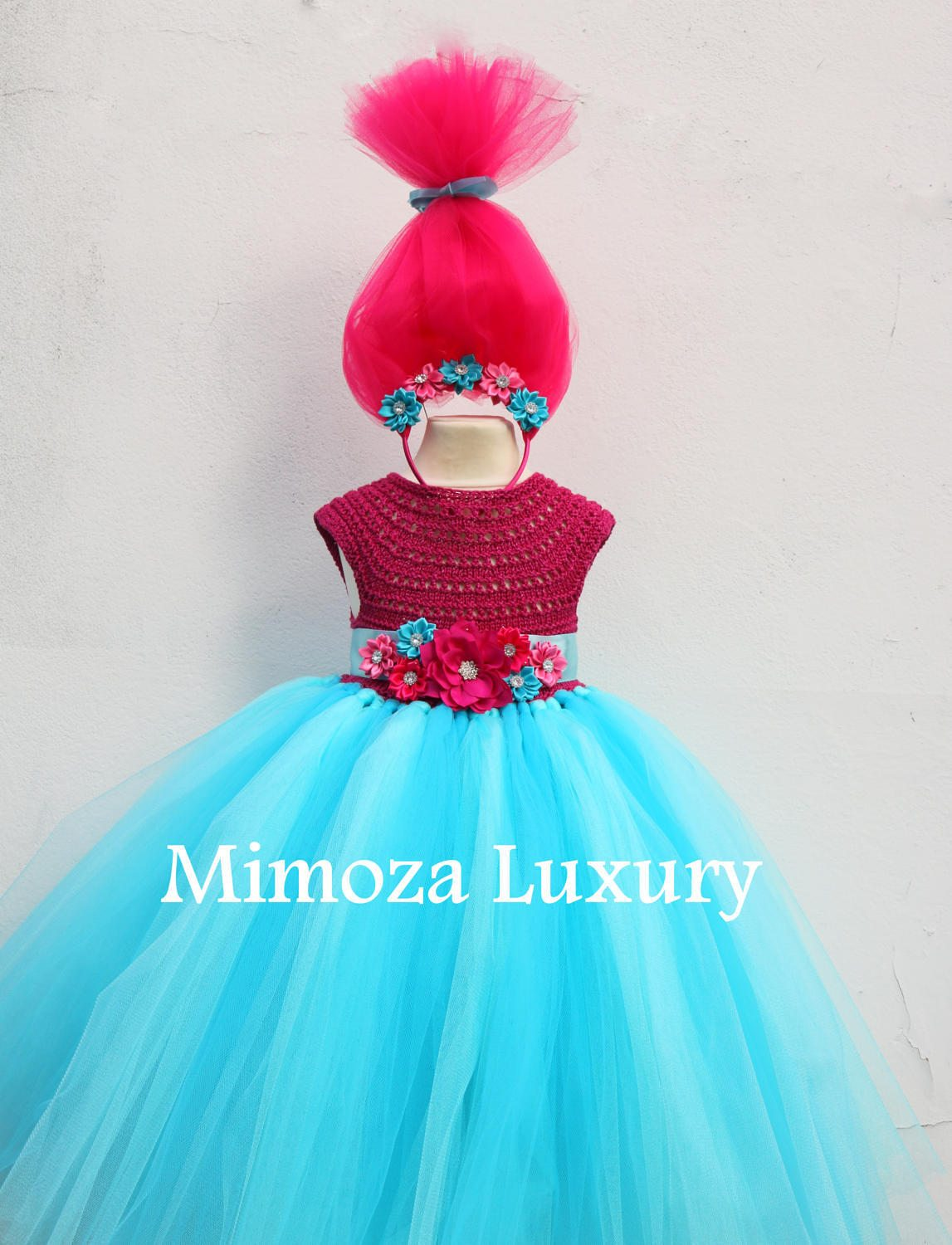 Poppy Troll Luxury Dress, Poppy troll birthday dress, poppy troll ...