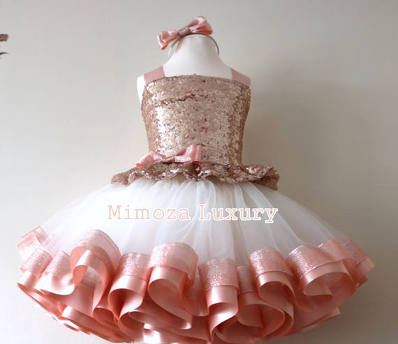 1st Birthday Dress For Baby Girl.Luxury Rose Gold Birthday Outfit Rose Gold Girls Birthday Dress Baby Girl Tutu Princess Dress 1st Birthday Tutu Dress Outfit Infant Girl