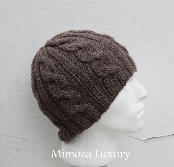 Taupe Brown Men's Beanie hat, Hand Knitted Hat in brown beanie hat, knitted men's, women's beanie hat , brown winter beanie hat, ski hat