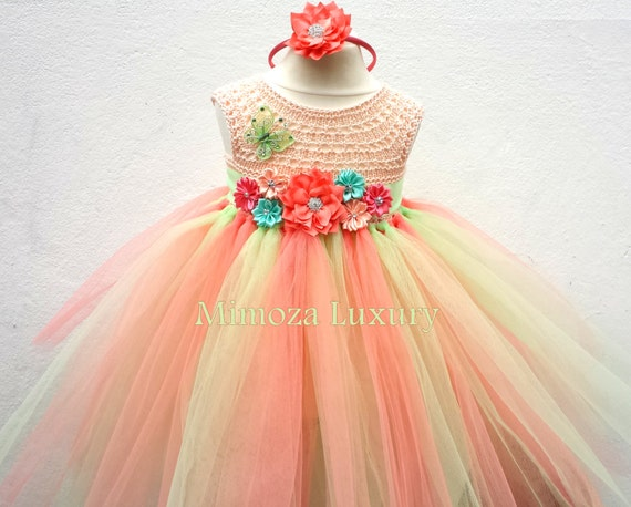 Mint Coral Peach Flower girl dress, mint coral tutu dress,bridesmaid dress, princess dress, crochet top tulle dress, hand knit tutu dress
