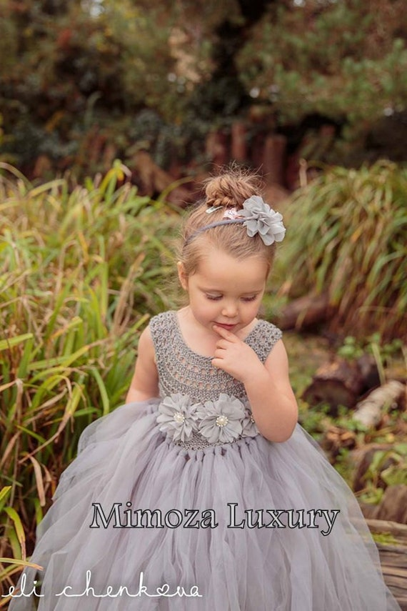 Silver Grey Flowergirl dress, tutu dress, bridesmaid dress, princess dress, silk crochet top tulle dress, hand knit silk top tutu dress