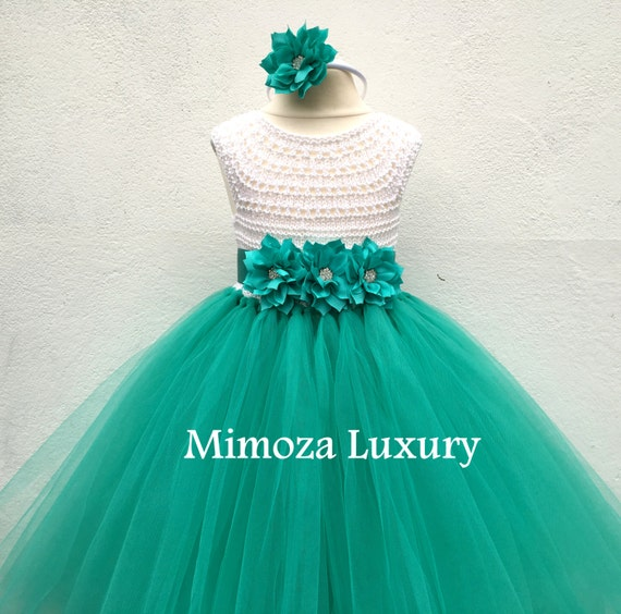 Sea green Flower girl dress