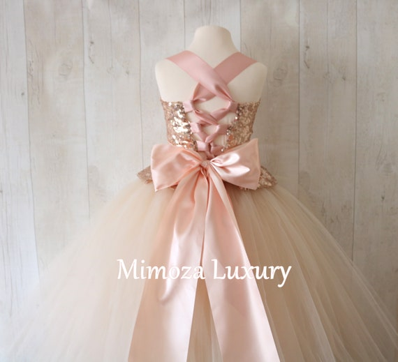 Rose Gold Flower Girl Dress, champagne bridesmaid dress, couture flower girl gown, bespoke girls dress, tulle princess dress, rose gold tutu
