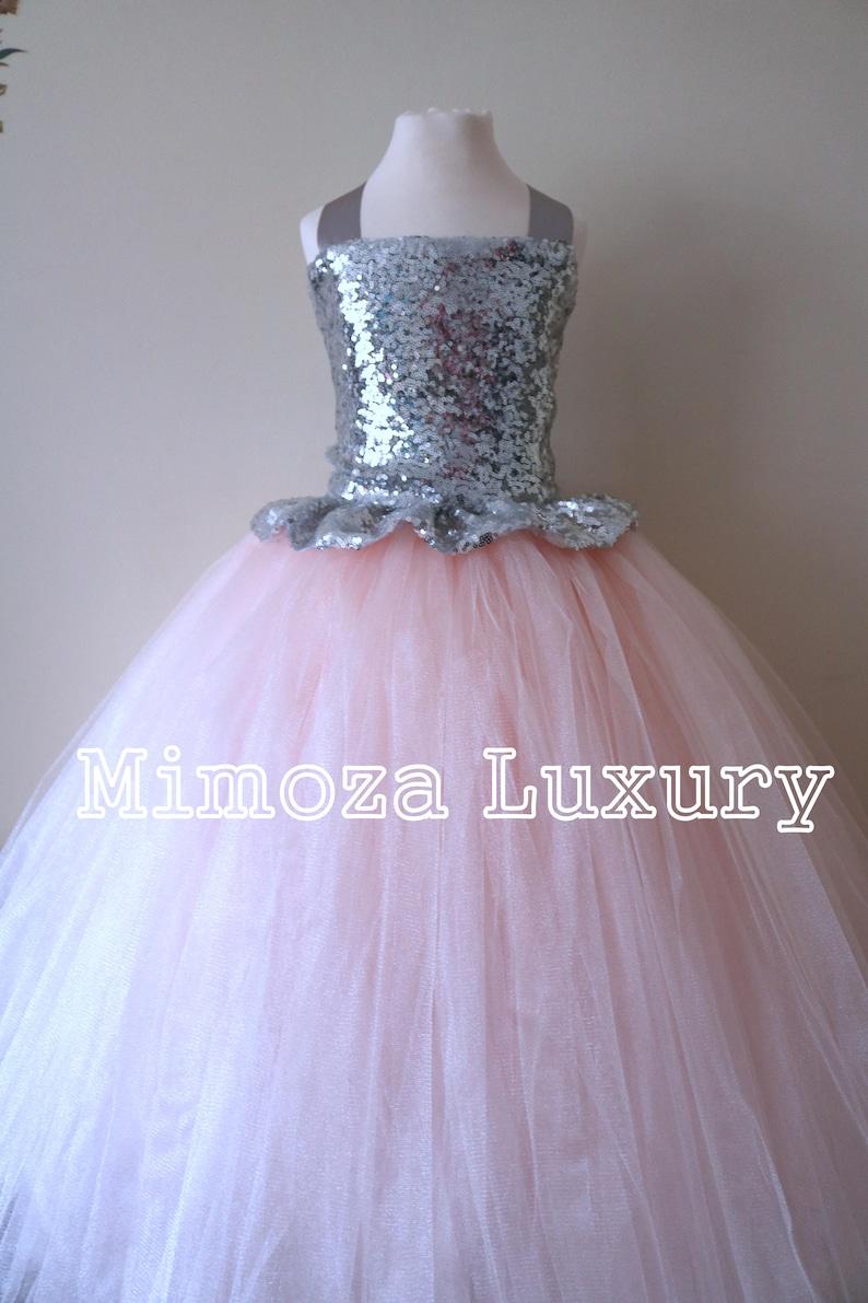 3198ec383a5 Blush   Silver Sequin Flower Girl Dress silver bridesmaid