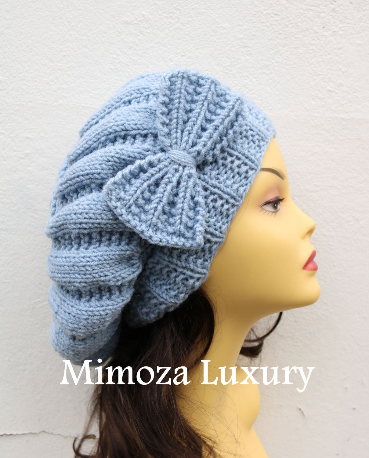 47d3c6c0b94 Light Denim Blue Woman Hand Knitted Hat with Bow