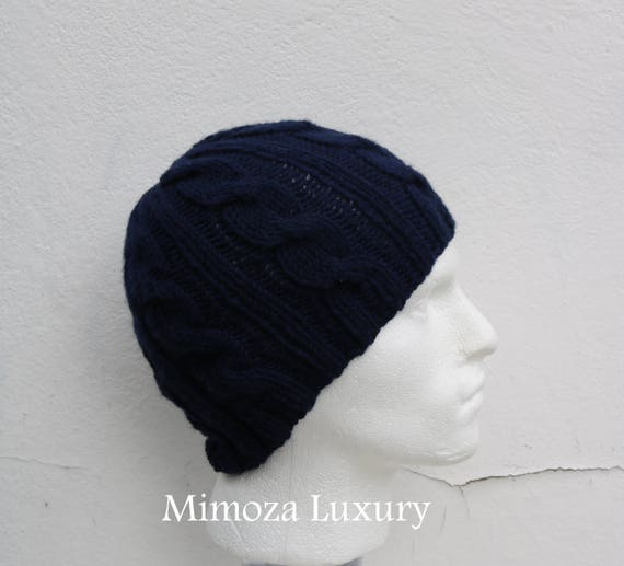 Navy Men's Beanie hat, Hand Knitted Hat in navy, blue beanie hat, knitted men's, women's beanie hat , navy autumn winter beanie hat, ski hat