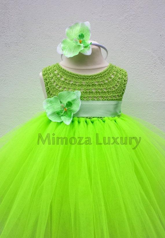 Flo Green Orchid Flower girl dress, flo green tutu dress, bridesmaid dress, orchid princess dress, lime orchid tulle dress, yarn tutu dress