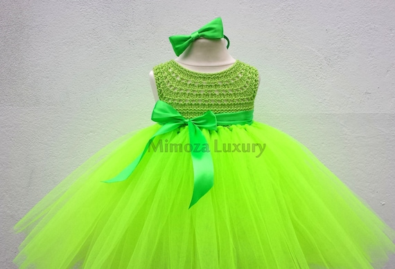 Flo Green Fairy Flower girl dress, flo green tutu dress, bridesmaid dress, tinkerbell princess dress, lime top tulle dress, yarn tutu dress