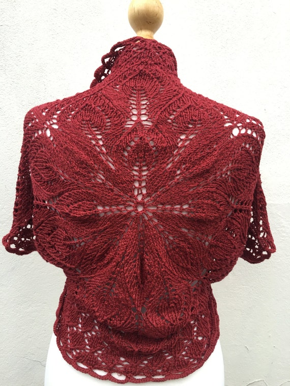Burgundy Hand Knitted Bolero, Burgundy Bridesmaid bolero, wedding bolero, knit  Bolero, Vest, Silk knit Bolero