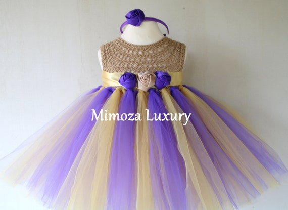 Purple/Beige baby girl dress