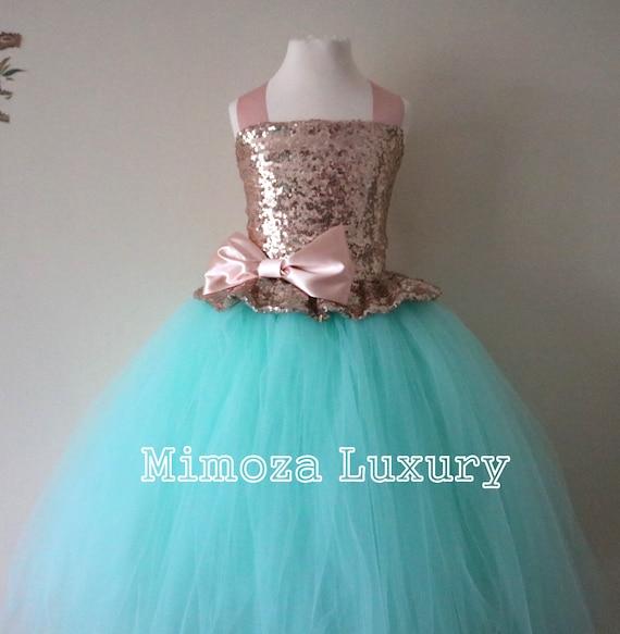 Rose Gold & Mint Sequin Flower Girl Dress, mint green bridesmaid dress, Rose Gold flower girl gown, bespoke girls dress,tulle princess dress