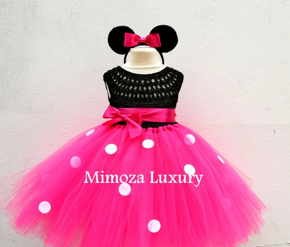 Minnie Mouse Birthday Dress, minnie mouse princess outfit, 1st birthday dress,2nd birthday dress, minnie mouse headband ears,disney princess