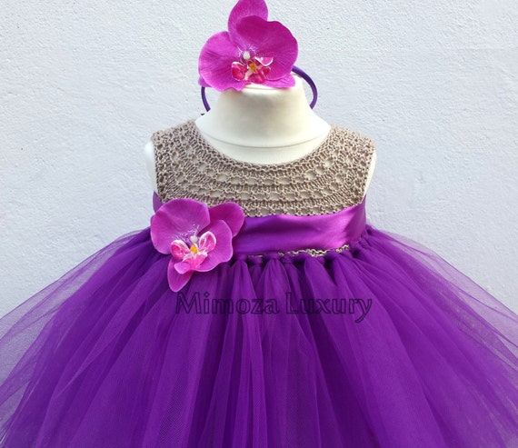 Purple Flower girl dress, tutu dress,bridesmaid dress, princess dress, crochet top tulle dress, hand knit top tutu dress