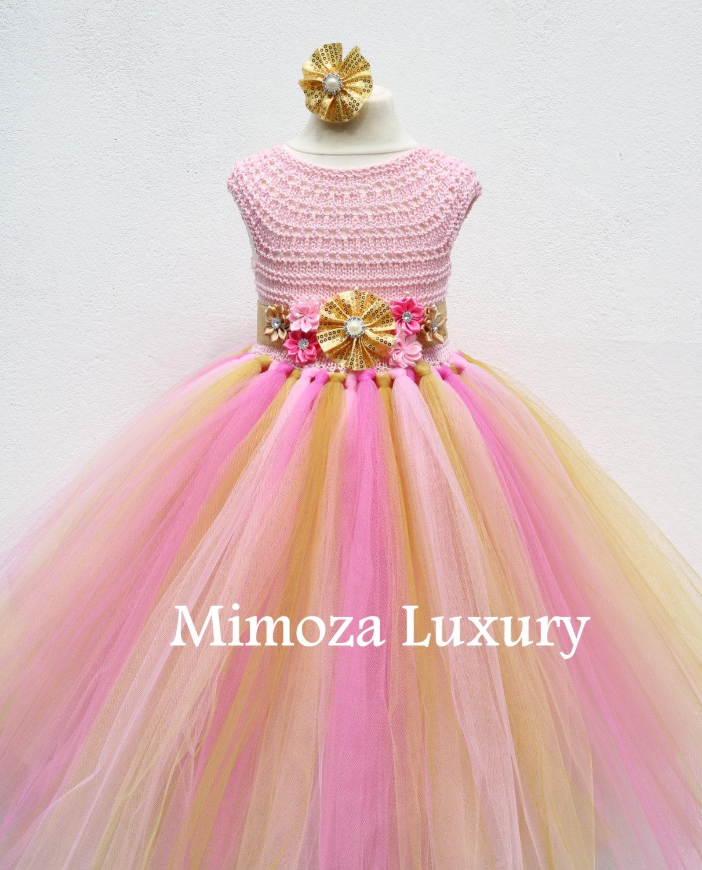Pink And Gold Flower Girl Dress Peppa Pig Tutu Dress Bridesmaid