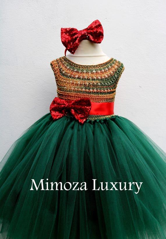 red green princess dress Christmas eve dress emerald crochet top tulle dress Christmas tutu dress Christmas green elf tutu dress