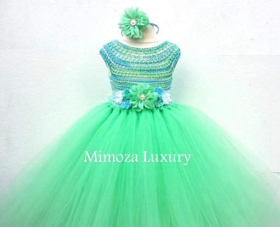 Mint Green Blue Flower girl dress, tutu dress, bridesmaid dress, princess dress, mint crochet top tulle dress, knit tutu dress mint