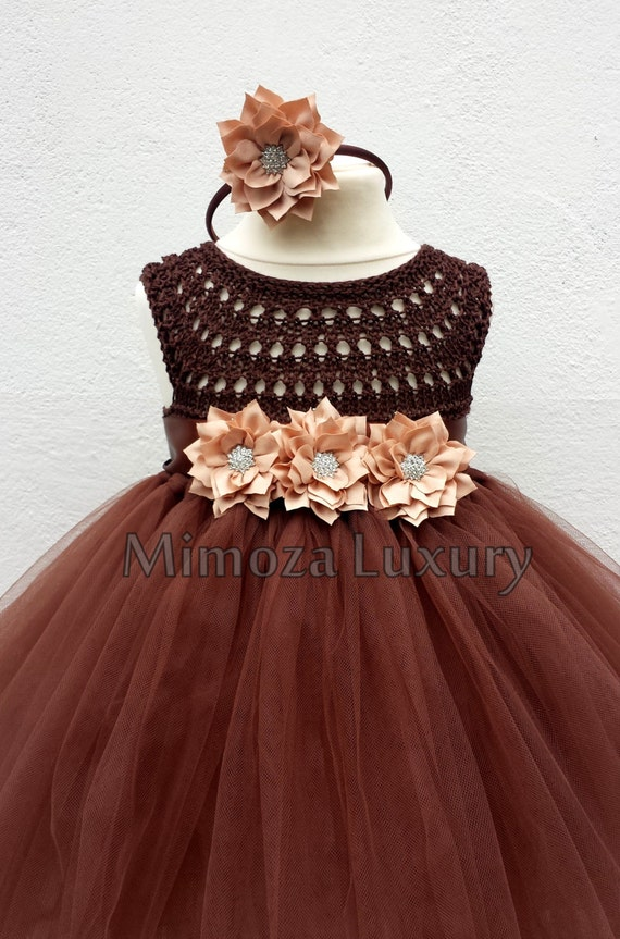 Brown Flower girl dress tutu dress,  bridesmaid dress, chocolate princess dress, crochet top tulle dress, brown tutu dress