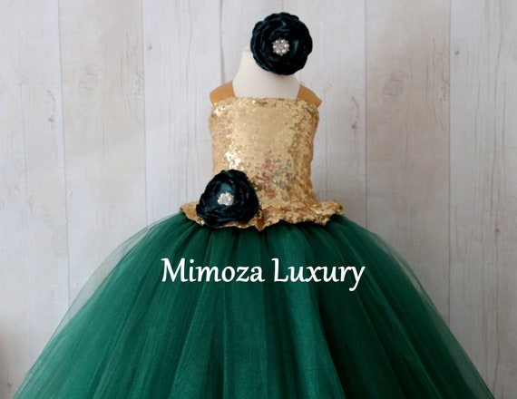 Gold & Bottle Green Flower Girl Dress, Gold sequin bridesmaid dress, hunter green gown, gold bespoke girls dress, bottle green tulle dress