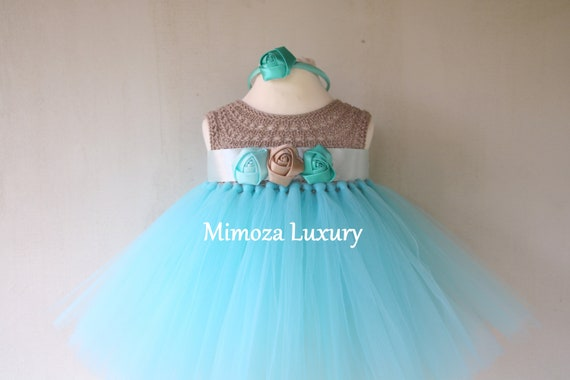 Mint/Beige baby tutu dress