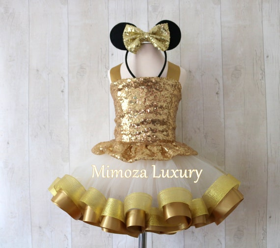 Luxury Gold Minnie Mouse Outfit, gold minnie mouse birthday dress, gold tutu princess dress,gold minnie mouse, gold tutu outfit, gold infant