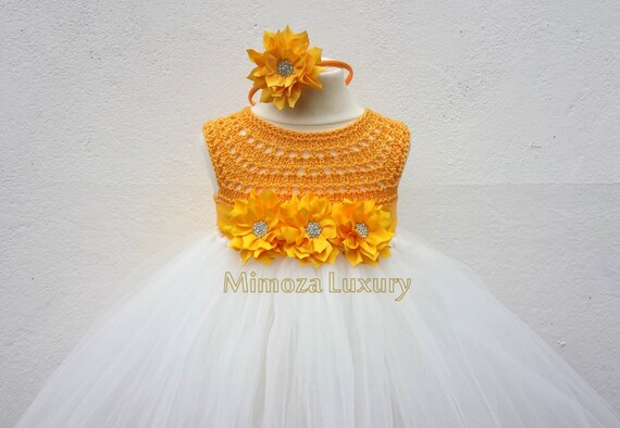 Yellow Daffodil Flower girl dress, tutu dress bridesmaid dress, princess dress, silk crochet top tulle dress Daffodil dress in yellow