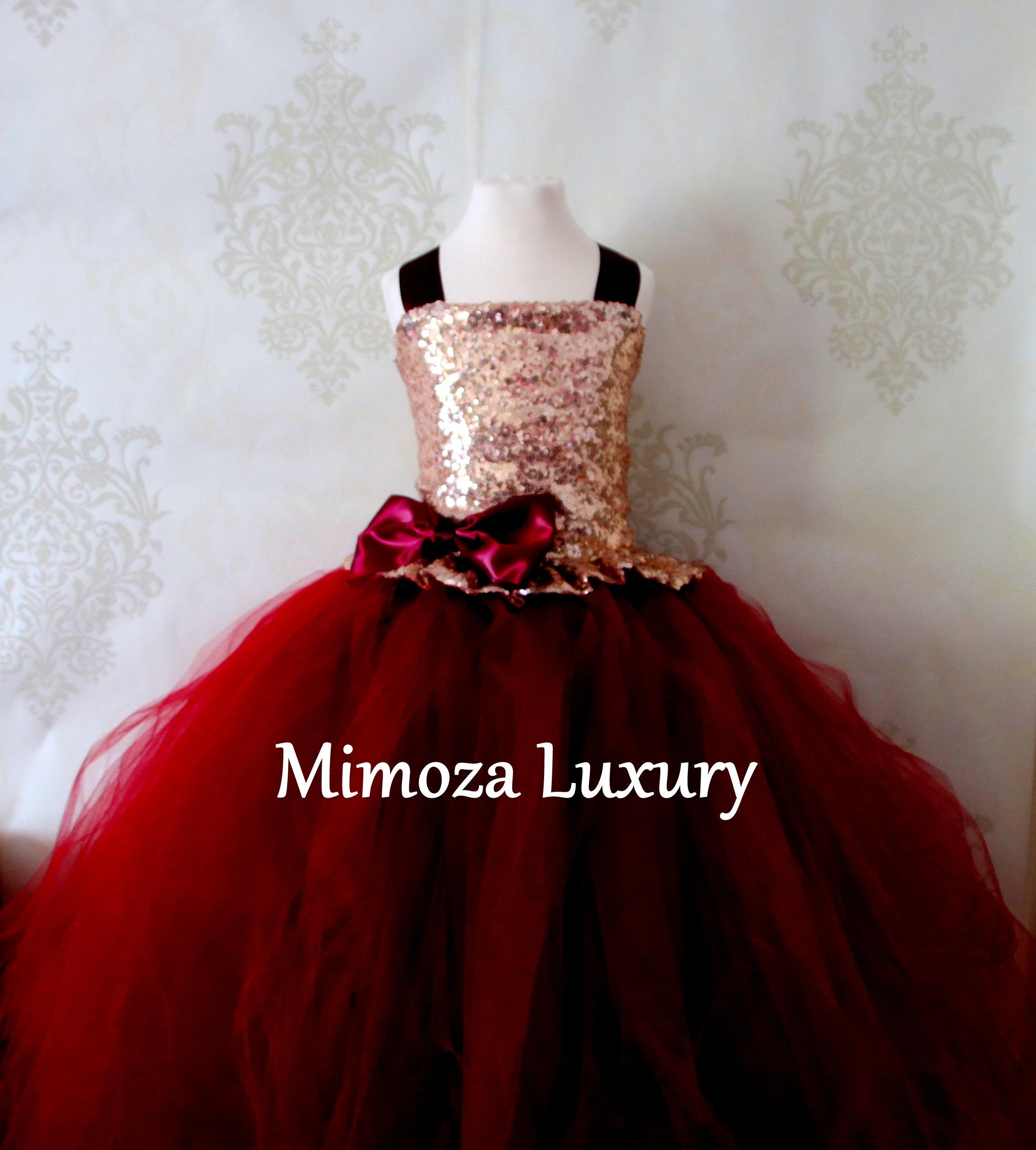 7e331b85d17 Rose Gold   Burgundy Flower Girl Dress