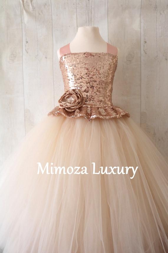eb534c790d9e Champagne Flower Girl Dress rose gold bridesmaid dress | Etsy
