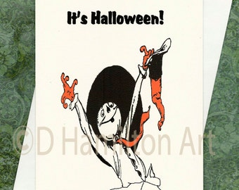 Halloween Card, Happy Halloween Scarecrow with Hat for Trick-or-Treating