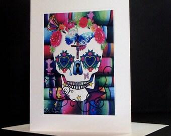 All Souls Day Sugar Skull Dia de los Muertos The Day of the Dead Blank Greeting Card for Dia de los Muertos