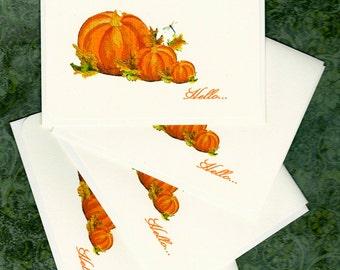 Pumpkin Art for autumn Pumpkin note cards, Pumpkin Hello Autumn Hello