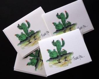 Cactus Thank You 4 Card Set