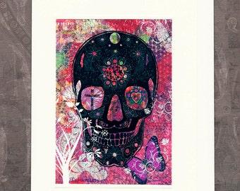 All Souls Day Sugar Skull Dia de los Muertos The Day of the Dead Blank Greeting Card for Mexico's Dia de los Muertos