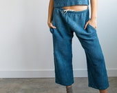 Waffle Tie Pants, Indigo Blue Crop Pant, Hand Woven Pull on, Wide Leg Pants