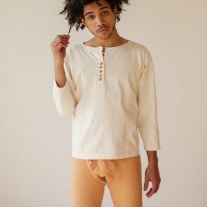 Natural Organic Cotton Mens  Clothing Organic Cotton Top Button down Farm to Thread Organic Cotton Hippie Hand dyed Tumeric Men/'s Shirt