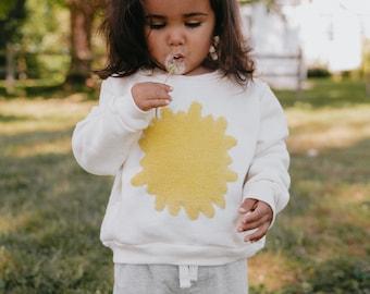 Kids Organic Sweatshirt, Toddler Clothing, Dandelion Crewneck, Made in Detroit, Unisex Kids Clothing, Boys, Girls Sweatshirt, Yellow
