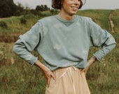 Sky Organic Sweatshirt, Genderless Cloud Print Crewneck, Organic Cotton Blue Sweatshirt