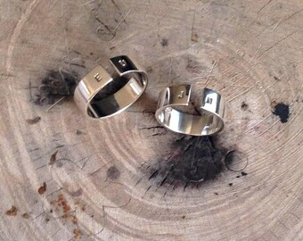 Set of rings, Initial Rings, Love gift, Personalized Ring, Valentines day gift, Silver bands, Customize ring, Couple rings, Promise rings