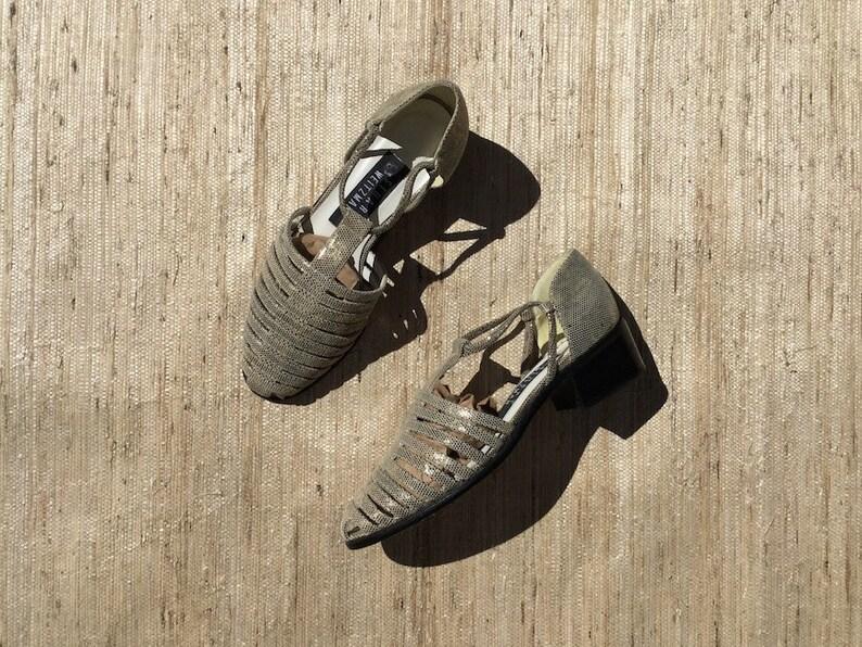 3df42dec32c1d Stuart Weitzman Leather Metallic Strappy Mary Jane Sandals | 90s vintage |  gold | t strap | gladiator | minimalist | size 5 narrow