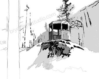 Retired Fire Lookout Art Print
