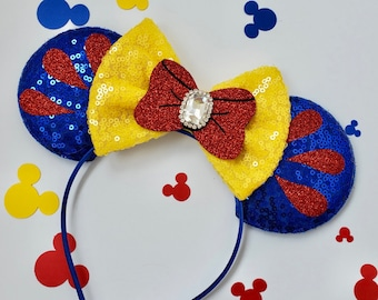 Snow white inspired glitter and Sequin minnie ears, minnie mouse ears, minnie mouse headband, snow white and the seven dwarfs